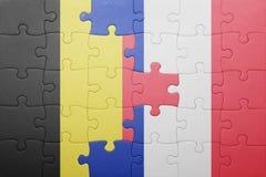 Déconcertez avec le drapeau national de la Belgique et des Frances Image stock