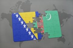 déconcertez avec le drapeau national de la Bosnie-Herzégovine et du Turkménistan sur une carte du monde Image stock