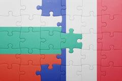 Déconcertez avec le drapeau national de la Bulgarie et des Frances Image libre de droits