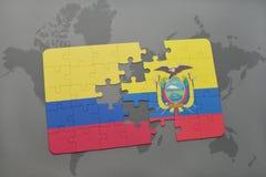 déconcertez avec le drapeau national de la Colombie et de l'Equateur sur un fond de carte du monde Images libres de droits