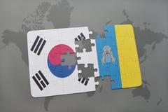 déconcertez avec le drapeau national de la Corée du Sud et des Îles Canaries sur un fond de carte du monde Photo stock