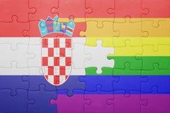 Déconcertez avec le drapeau national de la Croatie et du drapeau gai Photo stock