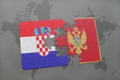 déconcertez avec le drapeau national de la Croatie et du Monténégro sur un fond de carte du monde Photographie stock