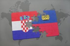 déconcertez avec le drapeau national de la Croatie et de la Liechtenstein sur un fond de carte du monde Photographie stock libre de droits
