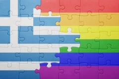 Déconcertez avec le drapeau national de la Grèce et du drapeau gai Photos stock
