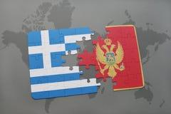 déconcertez avec le drapeau national de la Grèce et du Monténégro sur un fond de carte du monde Image stock