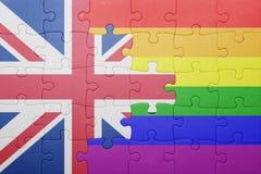 Déconcertez avec le drapeau national de la Grande-Bretagne et du drapeau gai Photo libre de droits