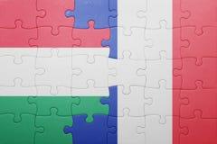 Déconcertez avec le drapeau national de la Hongrie et des Frances Photographie stock libre de droits