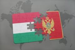 déconcertez avec le drapeau national de la Hongrie et du Monténégro sur un fond de carte du monde Image stock
