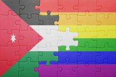 Déconcertez avec le drapeau national de la Jordanie et du drapeau gai Images libres de droits