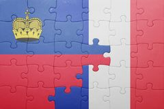 Déconcertez avec le drapeau national de la Liechtenstein et des Frances Photographie stock libre de droits