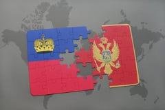 déconcertez avec le drapeau national de la Liechtenstein et du Monténégro sur un fond de carte du monde Photographie stock libre de droits