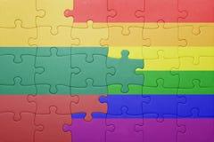 Déconcertez avec le drapeau national de la Lithuanie et du drapeau gai Image libre de droits