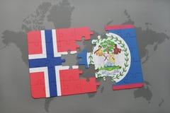 déconcertez avec le drapeau national de la Norvège et de Belize sur une carte du monde Photos stock