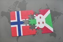 déconcertez avec le drapeau national de la Norvège et du Burundi sur une carte du monde Photos libres de droits