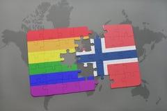 déconcertez avec le drapeau national de la Norvège et le drapeau gai d'arc-en-ciel sur un fond de carte du monde illustration de vecteur