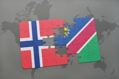 déconcertez avec le drapeau national de la Norvège et de la Namibie sur une carte du monde Photographie stock libre de droits