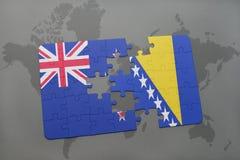 déconcertez avec le drapeau national de la Nouvelle Zélande et de la Bosnie-Herzégovine sur un fond de carte du monde Images libres de droits