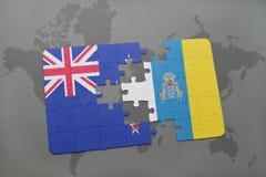 déconcertez avec le drapeau national de la Nouvelle Zélande et des Îles Canaries sur un fond de carte du monde Photographie stock