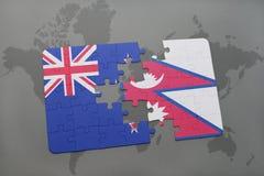déconcertez avec le drapeau national de la Nouvelle Zélande et du Népal sur un fond de carte du monde Photographie stock