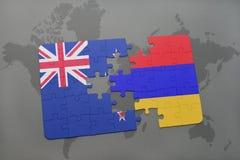 déconcertez avec le drapeau national de la Nouvelle Zélande et de l'Arménie sur un fond de carte du monde Photo stock