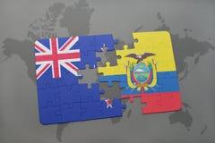déconcertez avec le drapeau national de la Nouvelle Zélande et de l'Equateur sur un fond de carte du monde Image stock