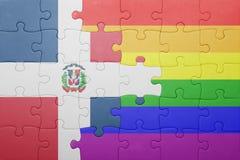 Déconcertez avec le drapeau national de la République Dominicaine et du drapeau gai Image stock