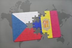 déconcertez avec le drapeau national de la République Tchèque et de l'Andorre sur un fond de carte du monde Photographie stock