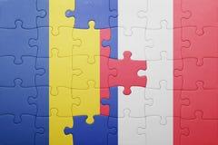Déconcertez avec le drapeau national de la Roumanie et des Frances Photographie stock libre de droits