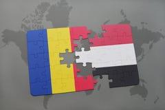déconcertez avec le drapeau national de la Roumanie et du Yémen sur une carte du monde Photo libre de droits