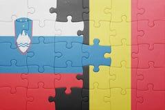 Déconcertez avec le drapeau national de la Slovénie et de la Belgique Photos stock