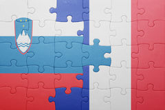 Déconcertez avec le drapeau national de la Slovénie et des Frances Images stock