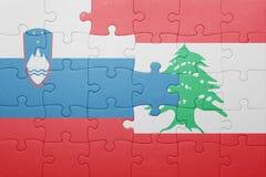 déconcertez avec le drapeau national de la Slovénie et du Liban Photographie stock libre de droits