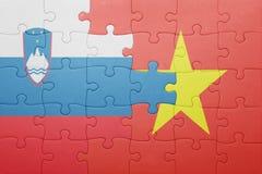 déconcertez avec le drapeau national de la Slovénie et du Vietnam Image stock