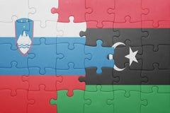 déconcertez avec le drapeau national de la Slovénie et de la Libye Photos libres de droits