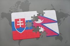 déconcertez avec le drapeau national de la Slovaquie et du Népal sur une carte du monde Photo stock