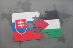 déconcertez avec le drapeau national de la Slovaquie et de la Palestine sur une carte du monde Photographie stock