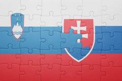 Déconcertez avec le drapeau national de la Slovaquie et de la Slovénie Photos stock