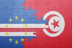 déconcertez avec le drapeau national de la Tunisie et du Cap Vert Images stock