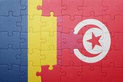 déconcertez avec le drapeau national de la Tunisie et du confetti Image libre de droits