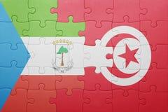déconcertez avec le drapeau national de la Tunisie et de la Guinée équatoriale Image stock