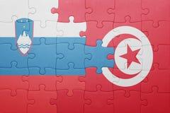 déconcertez avec le drapeau national de la Tunisie et de la Slovénie Photo libre de droits