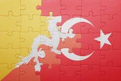 Déconcertez avec le drapeau national de la Turquie et du Bhutan Photo libre de droits