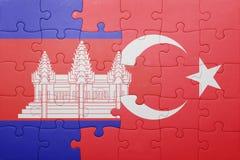 Déconcertez avec le drapeau national de la Turquie et du Cambodge Photos libres de droits