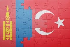 Déconcertez avec le drapeau national de la Turquie et de la Mongolie Images stock