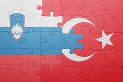 Déconcertez avec le drapeau national de la Turquie et de la Slovénie Photos libres de droits