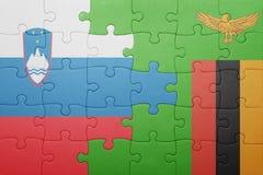 déconcertez avec le drapeau national de la Zambie et de la Slovénie Images libres de droits