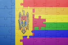 Déconcertez avec le drapeau national de Moldau et de drapeau gai Photos libres de droits