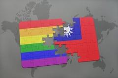 déconcertez avec le drapeau national de Taiwan et le drapeau gai d'arc-en-ciel sur un fond de carte du monde Images libres de droits