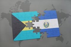 déconcertez avec le drapeau national des Bahamas et du Salvador sur un fond de carte du monde Photographie stock